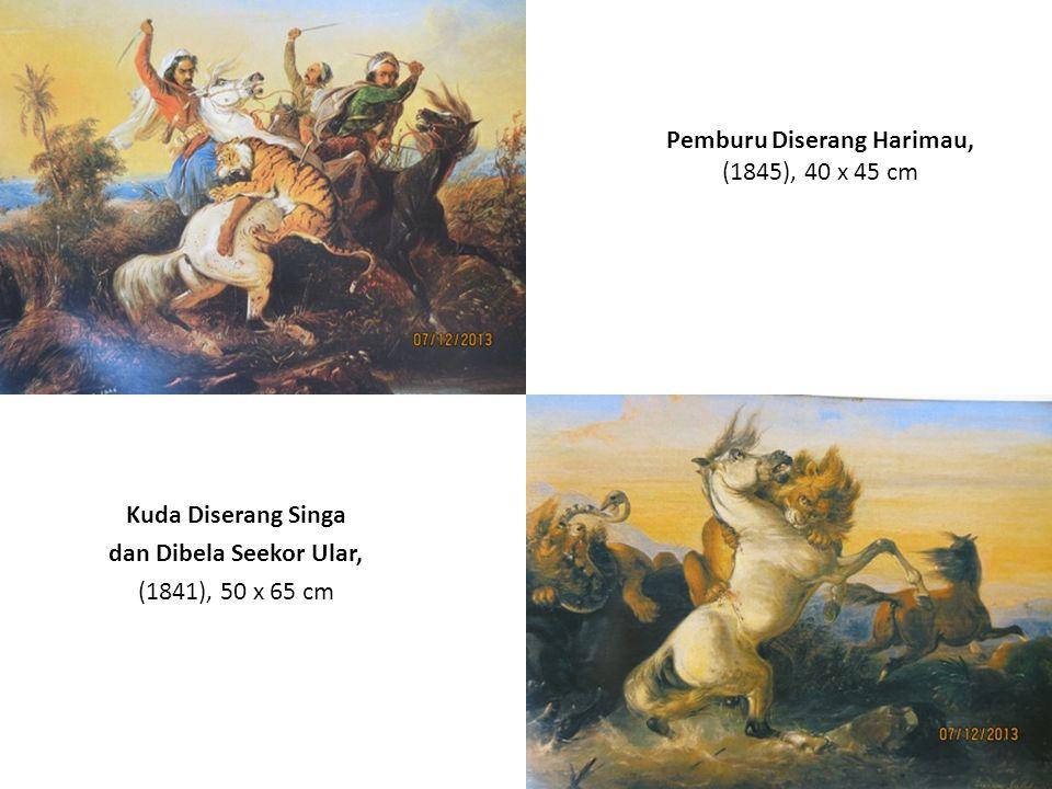 Pemburu Diserang Harimau, (1845), 40 x 45 cm