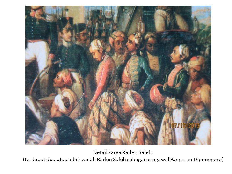 Detail karya Raden Saleh (terdapat dua atau lebih wajah Raden Saleh sebagai pengawal Pangeran Diponegoro)