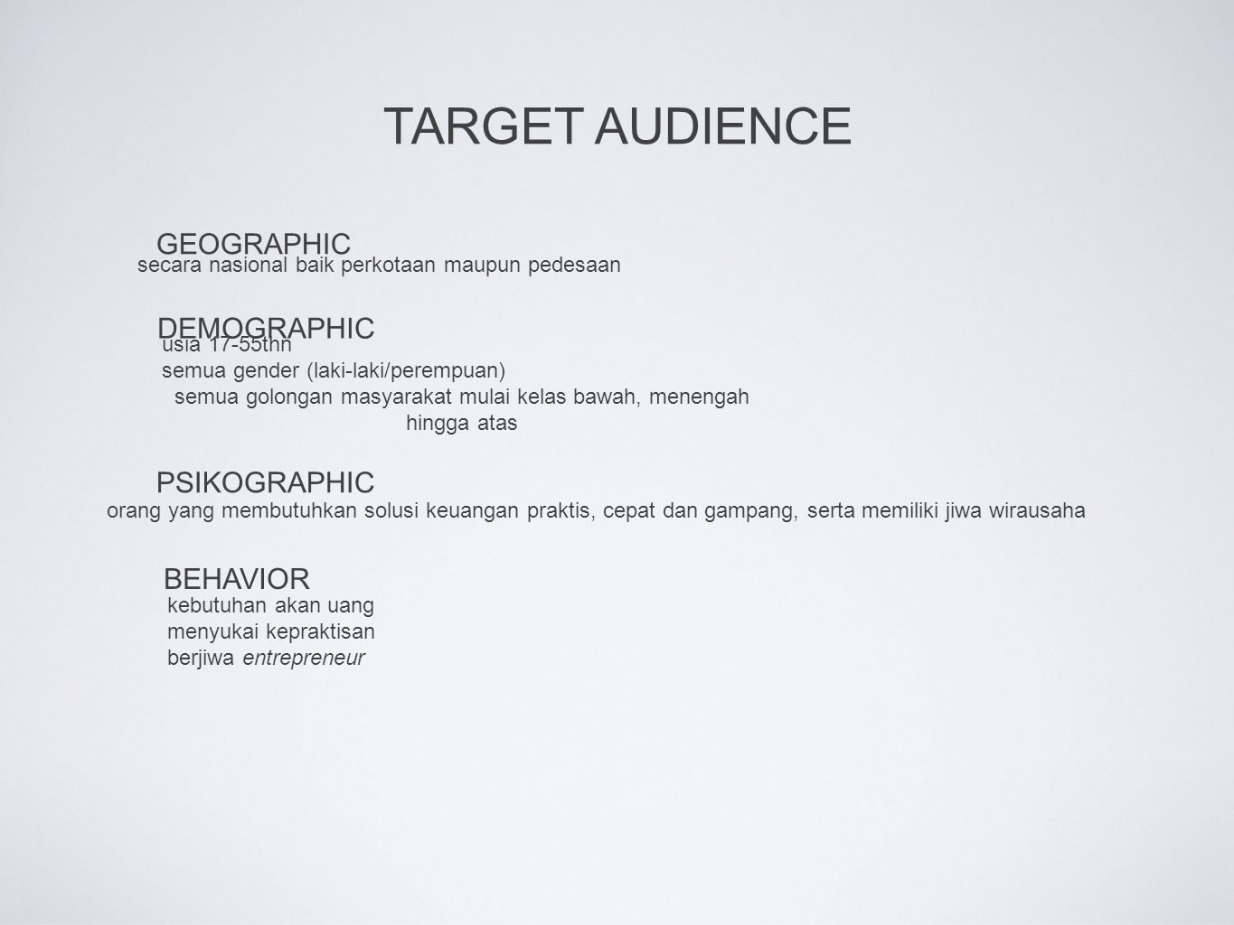 TARGET AUDIENCE GEOGRAPHIC DEMOGRAPHIC PSIKOGRAPHIC BEHAVIOR