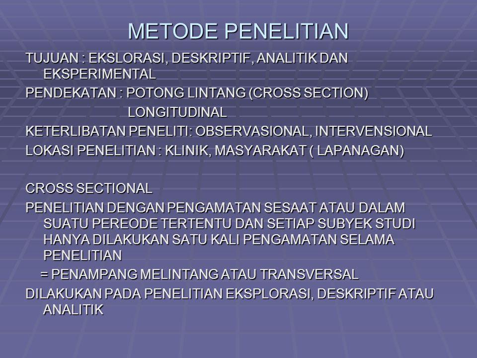 METODE PENELITIAN TUJUAN : EKSLORASI, DESKRIPTIF, ANALITIK DAN EKSPERIMENTAL. PENDEKATAN : POTONG LINTANG (CROSS SECTION)