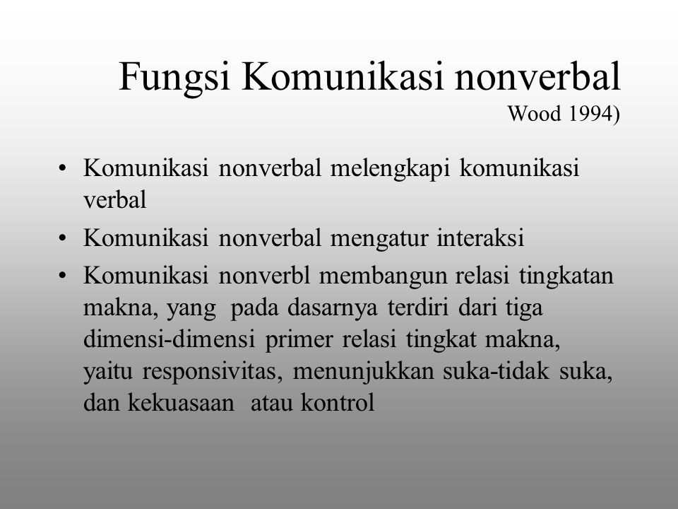 Fungsi Komunikasi nonverbal Wood 1994)