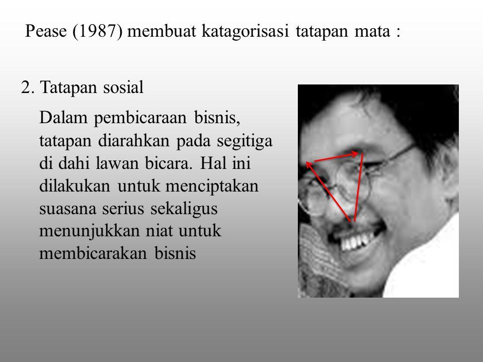 Pease (1987) membuat katagorisasi tatapan mata :