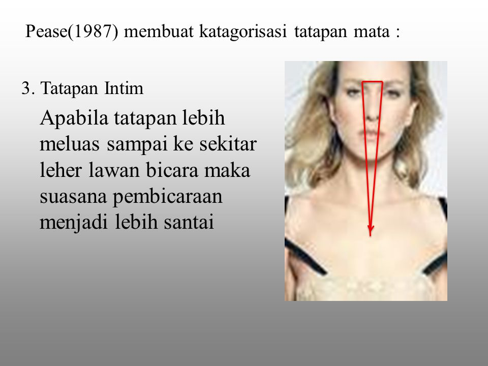 Pease(1987) membuat katagorisasi tatapan mata :