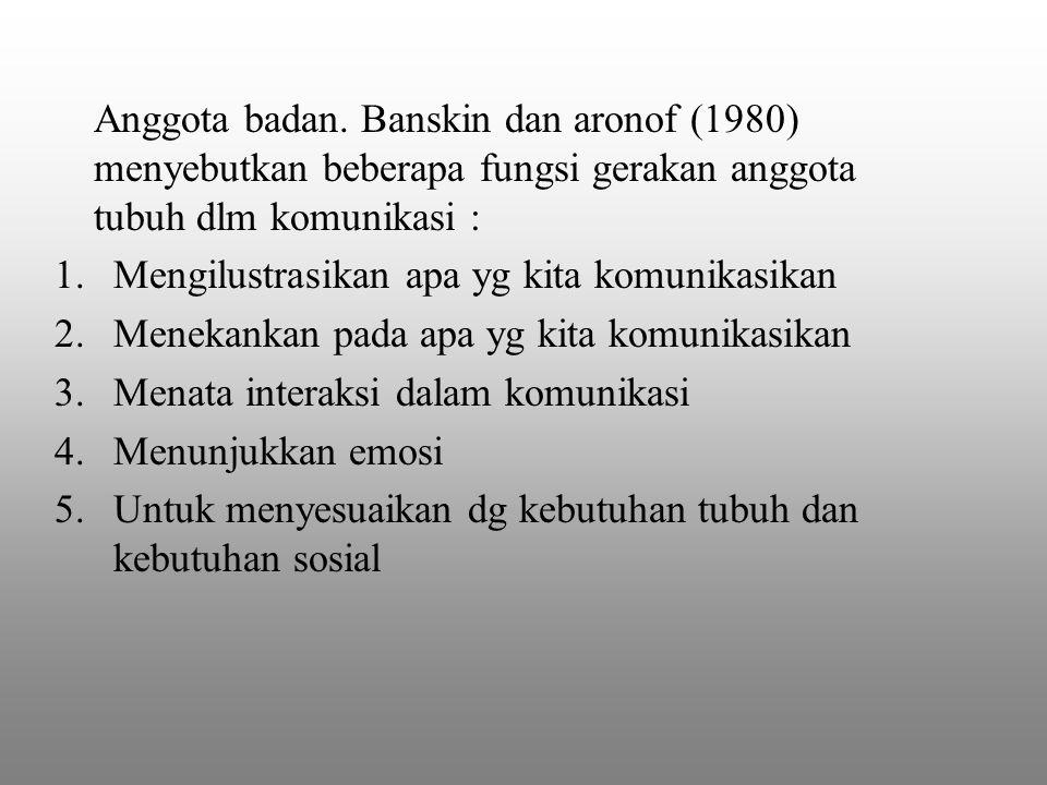 Anggota badan. Banskin dan aronof (1980) menyebutkan beberapa fungsi gerakan anggota tubuh dlm komunikasi :