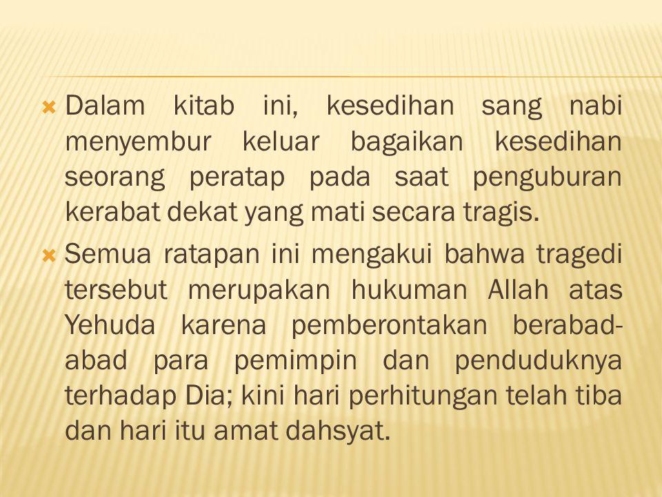 Dalam kitab ini, kesedihan sang nabi menyembur keluar bagaikan kesedihan seorang peratap pada saat penguburan kerabat dekat yang mati secara tragis.