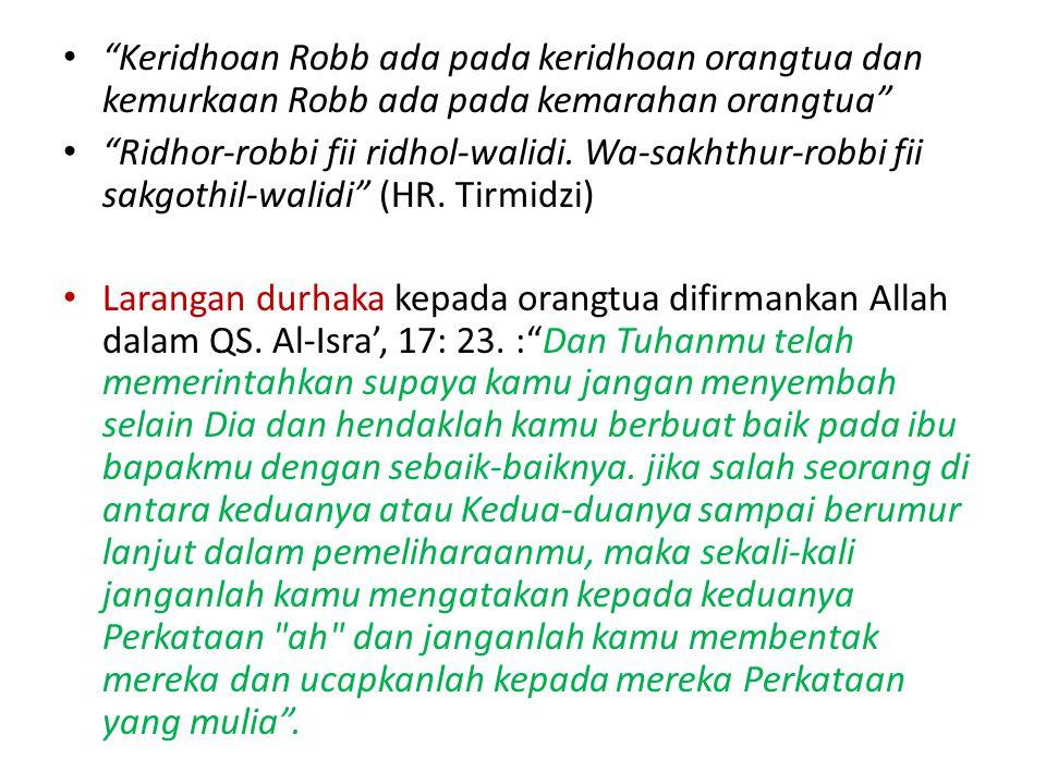 Keridhoan Robb ada pada keridhoan orangtua dan kemurkaan Robb ada pada kemarahan orangtua