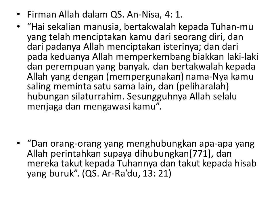 Firman Allah dalam QS. An-Nisa, 4: 1.