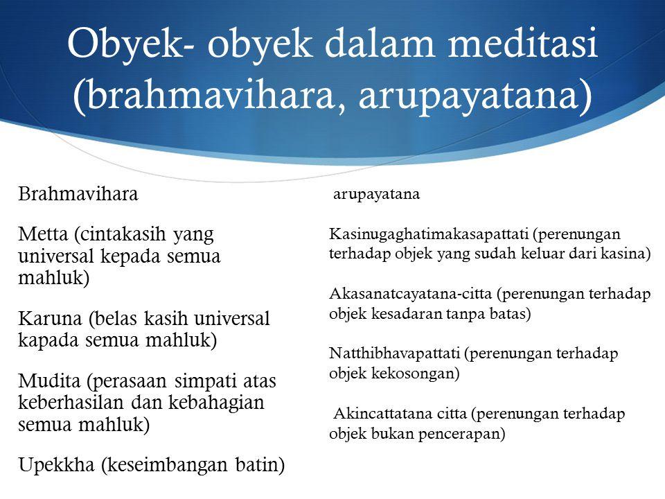 Obyek- obyek dalam meditasi (brahmavihara, arupayatana)