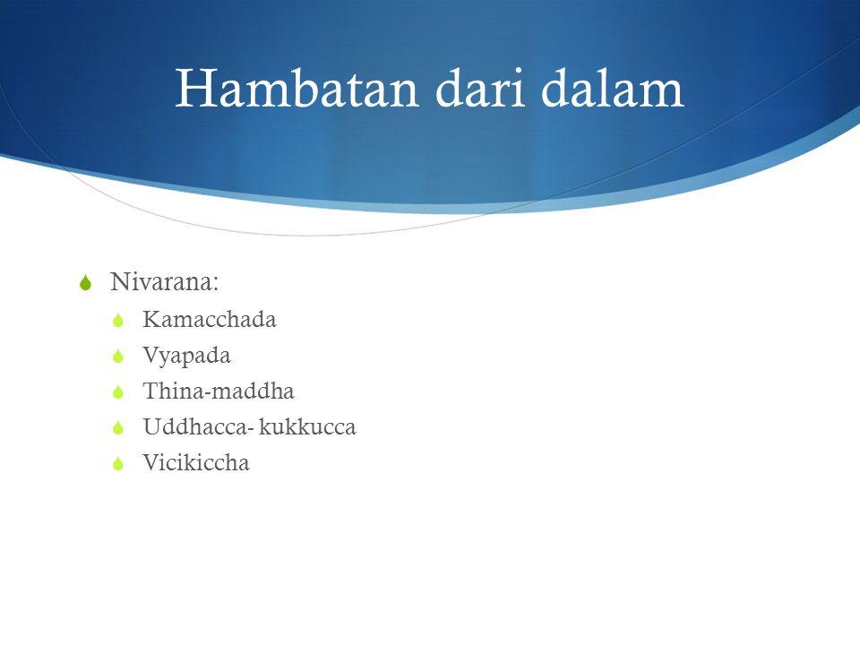 Hambatan dari dalam Nivarana: Kamacchada Vyapada Thina-maddha
