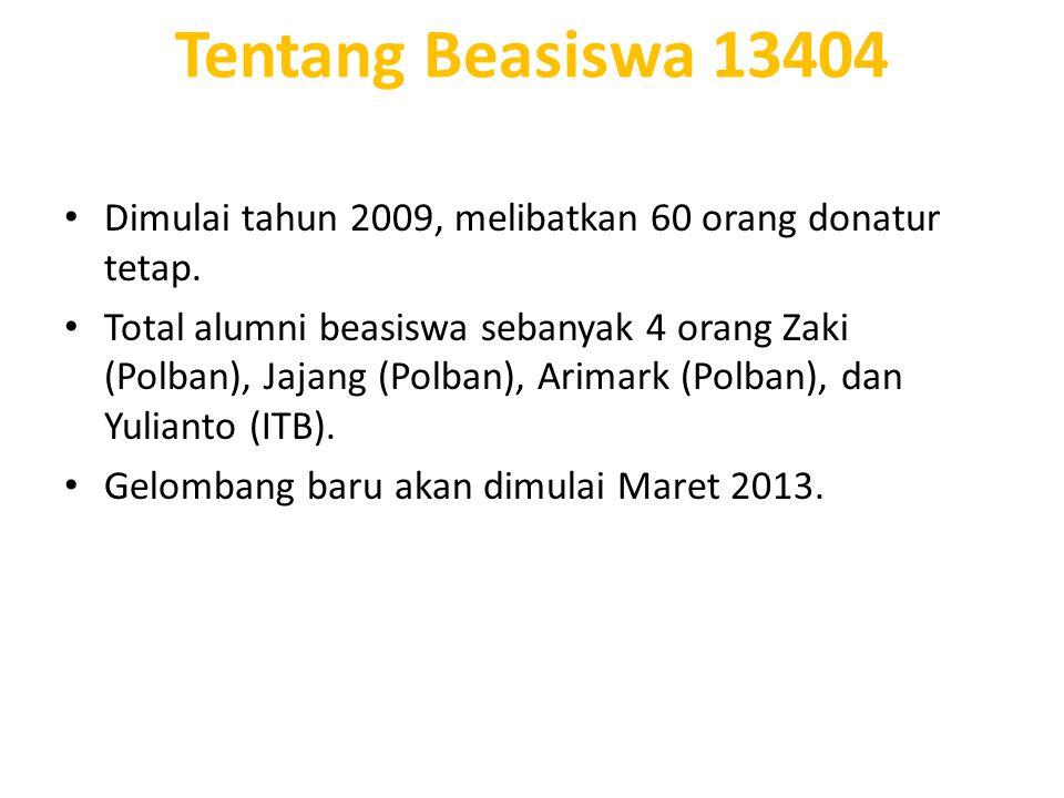Tentang Beasiswa 13404 Dimulai tahun 2009, melibatkan 60 orang donatur tetap.