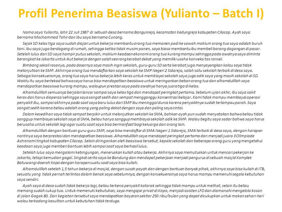 Profil Penerima Beasiswa (Yulianto – Batch I)