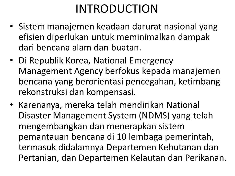 INTRODUCTION Sistem manajemen keadaan darurat nasional yang efisien diperlukan untuk meminimalkan dampak dari bencana alam dan buatan.