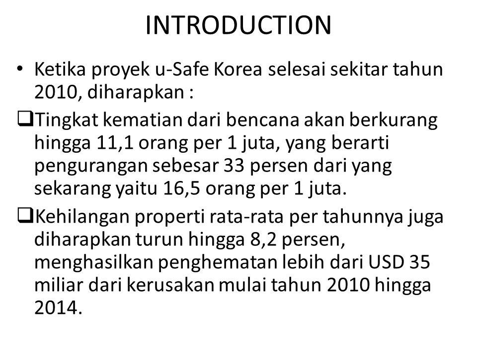 INTRODUCTION Ketika proyek u-Safe Korea selesai sekitar tahun 2010, diharapkan :