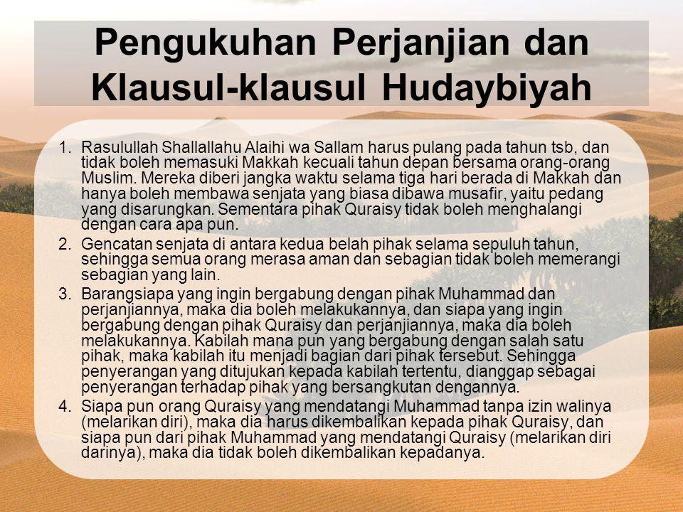 Pengukuhan Perjanjian dan Klausul-klausul Hudaybiyah