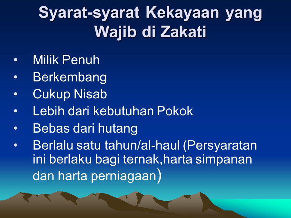Syarat-syarat Kekayaan yang Wajib di Zakati
