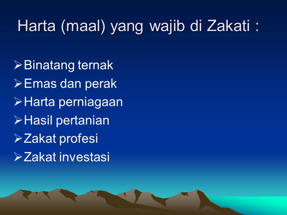 Harta (maal) yang wajib di Zakati :