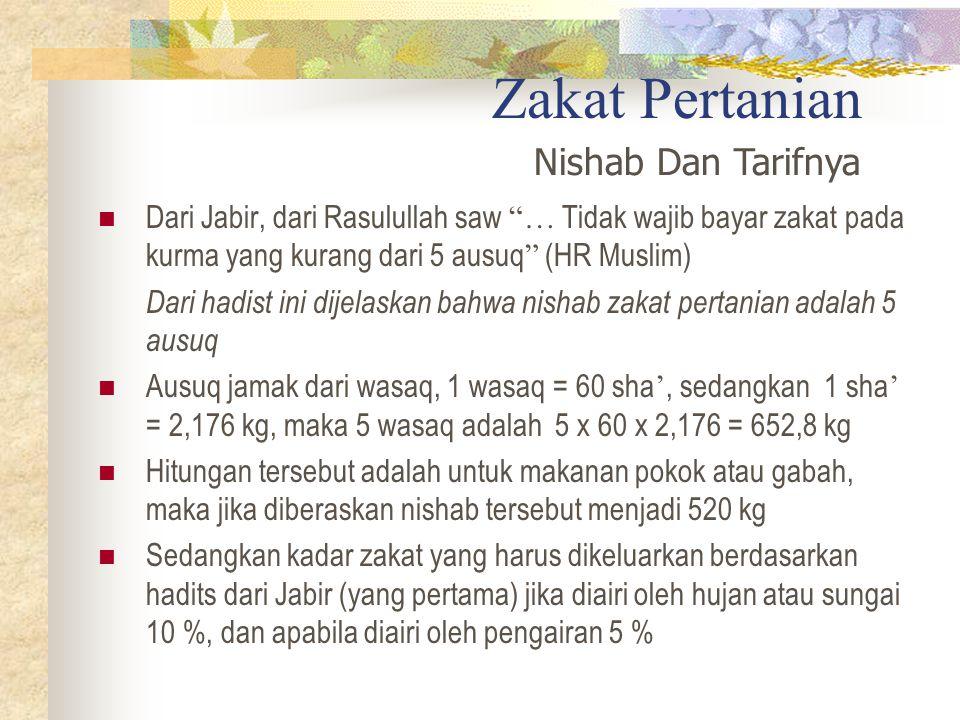 Zakat Pertanian Nishab Dan Tarifnya