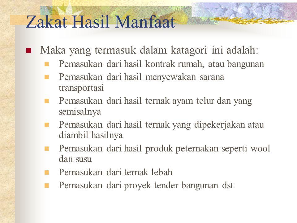 Zakat Hasil Manfaat Maka yang termasuk dalam katagori ini adalah: