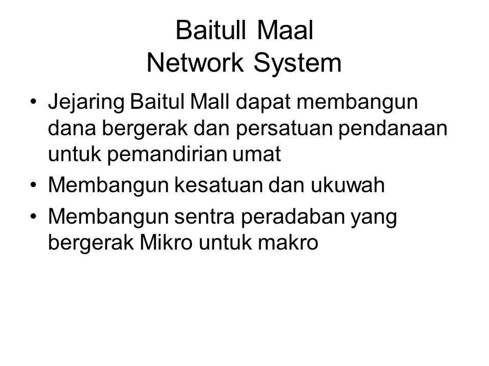 Baitull Maal Network System