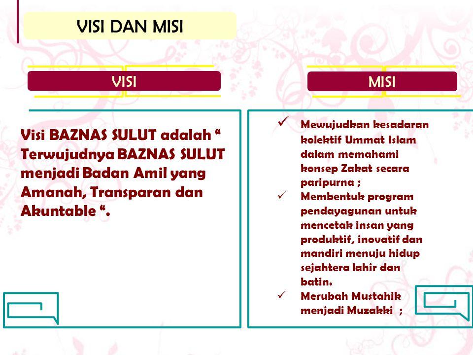 VISI DAN MISI VISI. MISI. Mewujudkan kesadaran kolektif Ummat Islam dalam memahami konsep Zakat secara paripurna ;