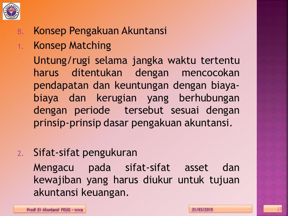 Konsep Pengakuan Akuntansi Konsep Matching