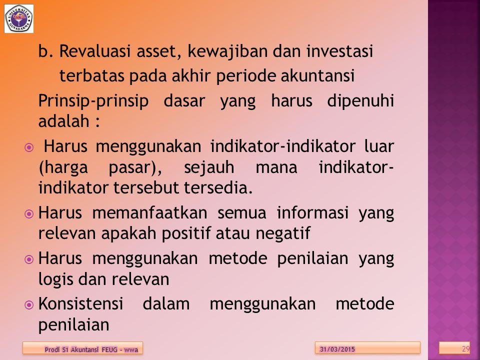 b. Revaluasi asset, kewajiban dan investasi