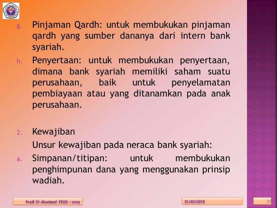 Unsur kewajiban pada neraca bank syariah:
