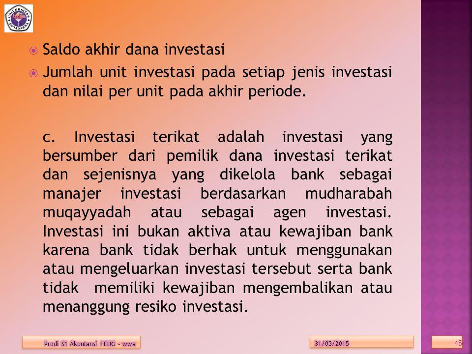 Saldo akhir dana investasi