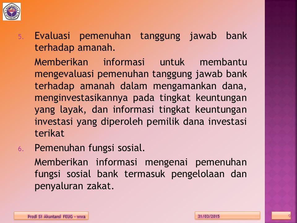 Evaluasi pemenuhan tanggung jawab bank terhadap amanah.