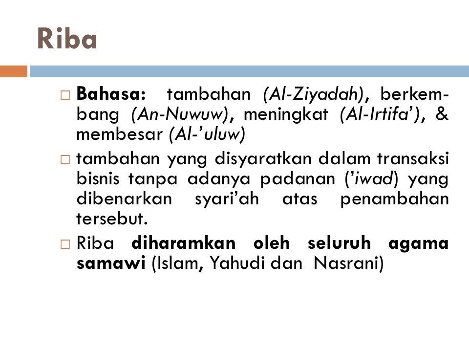 Riba Bahasa: tambahan (Al-Ziyadah), berkem- bang (An-Nuwuw), meningkat (Al-Irtifa'), & membesar (Al-'uluw)
