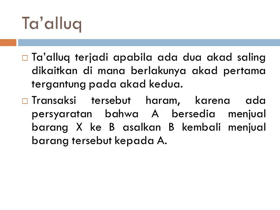 Ta'alluq Ta'alluq terjadi apabila ada dua akad saling dikaitkan di mana berlakunya akad pertama tergantung pada akad kedua.