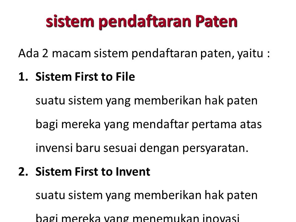 sistem pendaftaran Paten