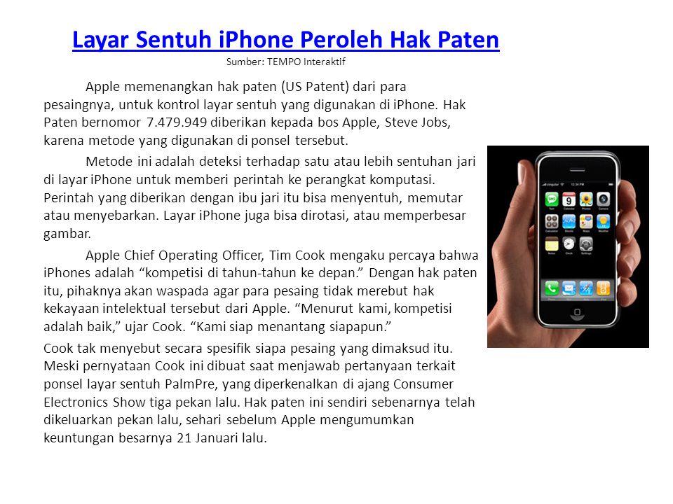 Layar Sentuh iPhone Peroleh Hak Paten Sumber: TEMPO Interaktif