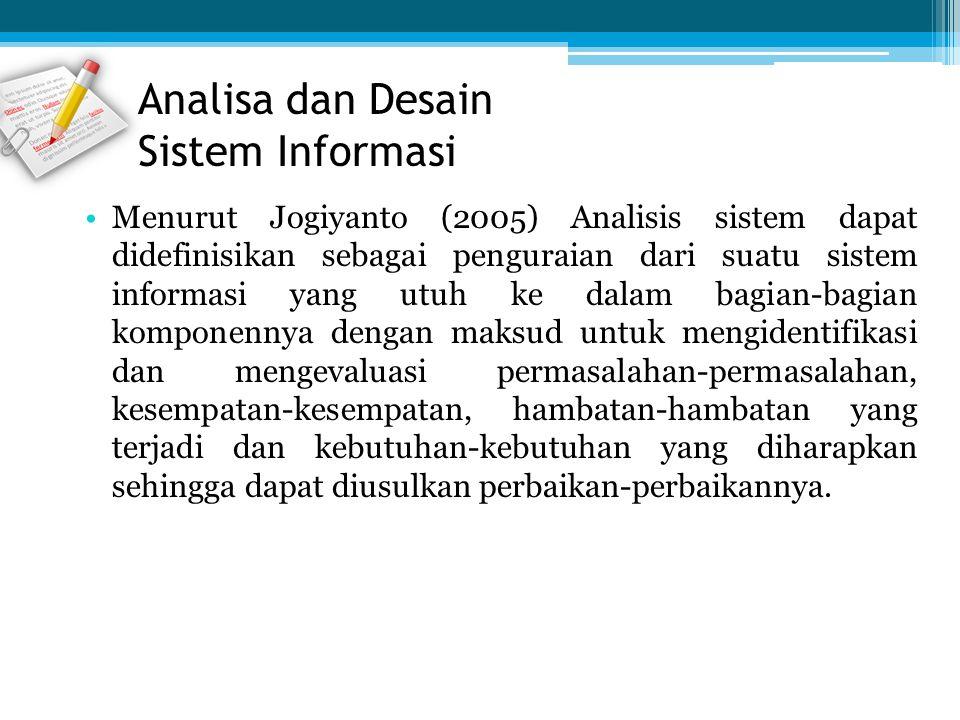 Analisa dan Desain Sistem Informasi