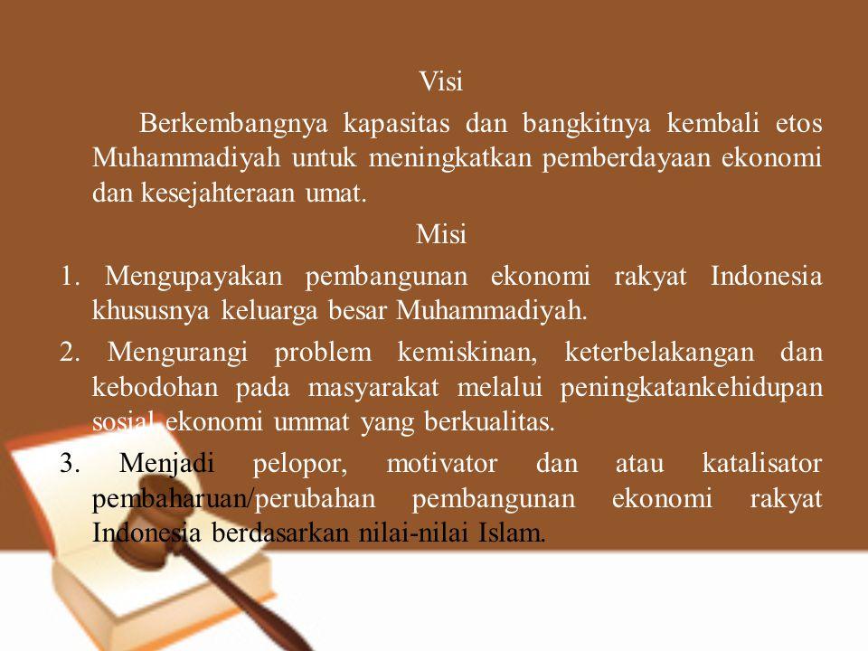 Visi Berkembangnya kapasitas dan bangkitnya kembali etos Muhammadiyah untuk meningkatkan pemberdayaan ekonomi dan kesejahteraan umat.