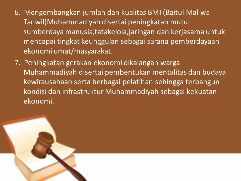 6. Mengembangkan jumlah dan kualitas BMT(Baitul Mal wa Tanwil)Muhammadiyah disertai peningkatan mutu sumberdaya manusia,tatakelola,jaringan dan kerjasama untuk mencapai tingkat keunggulan sebagai sarana pemberdayaan ekonomi umat/masyarakat.