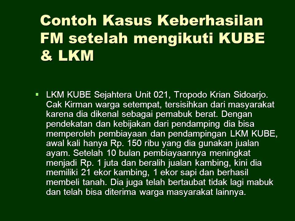 Contoh Kasus Keberhasilan FM setelah mengikuti KUBE & LKM