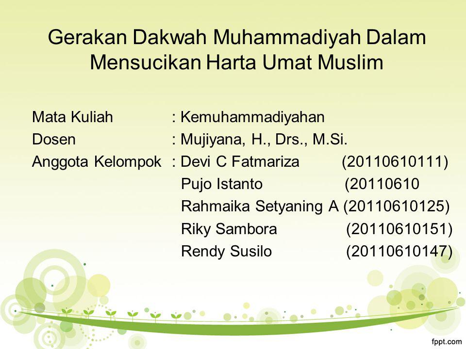 Gerakan Dakwah Muhammadiyah Dalam Mensucikan Harta Umat Muslim
