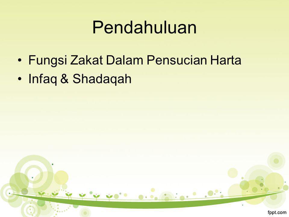 Pendahuluan Fungsi Zakat Dalam Pensucian Harta Infaq & Shadaqah