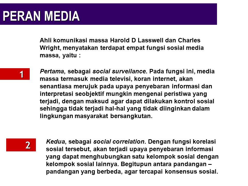 PERAN MEDIA Ahli komunikasi massa Harold D Lasswell dan Charles Wright, menyatakan terdapat empat fungsi sosial media massa, yaitu :