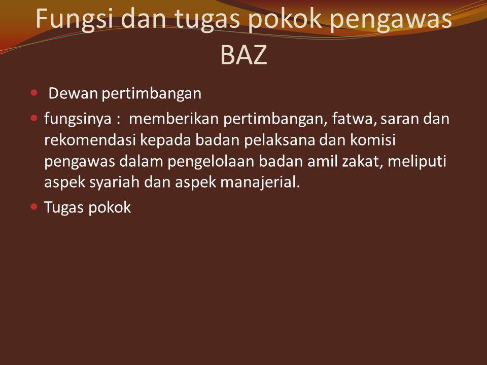 Fungsi dan tugas pokok pengawas BAZ