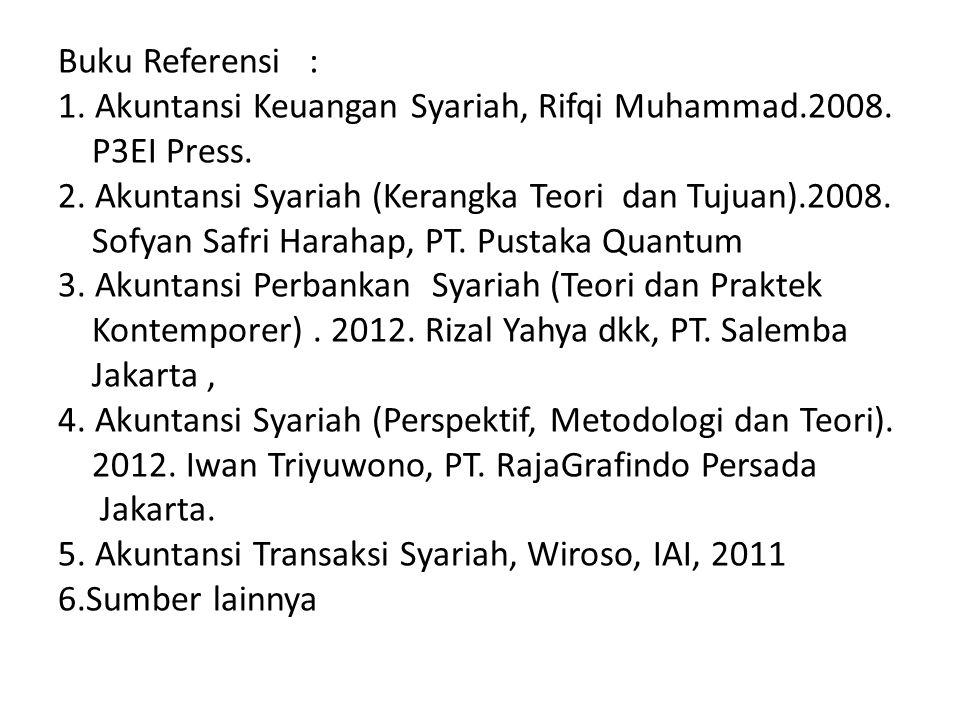 Buku Referensi : 1. Akuntansi Keuangan Syariah, Rifqi Muhammad. 2008
