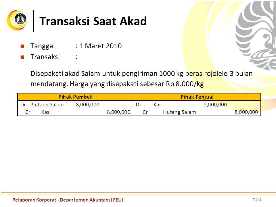 Transaksi Saat Akad Tanggal : 1 Maret 2010. Transaksi :