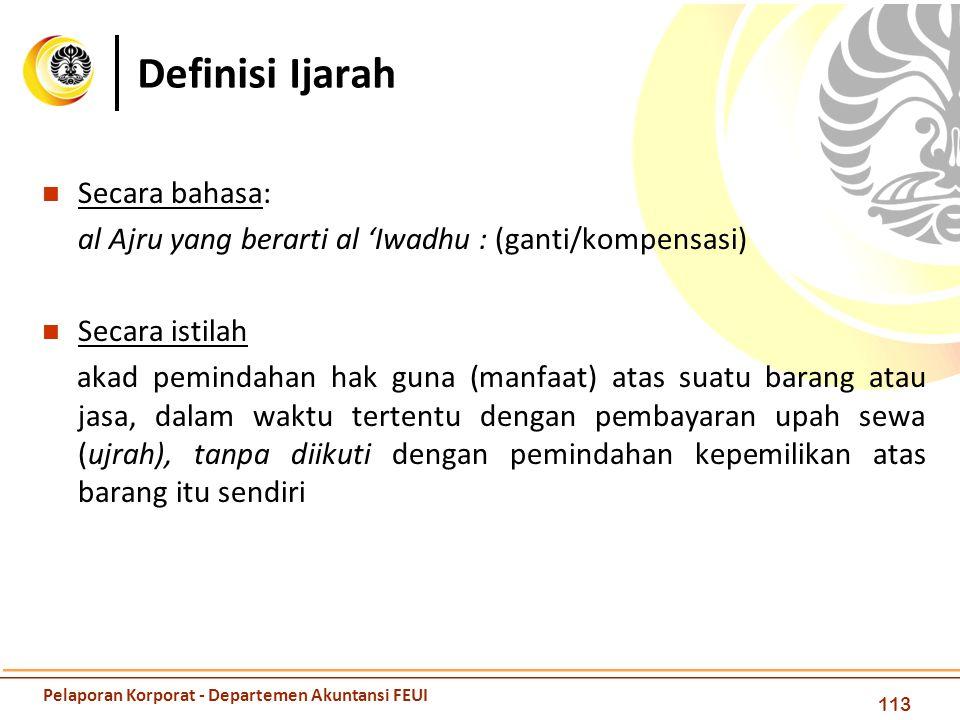 Definisi Ijarah Secara bahasa: