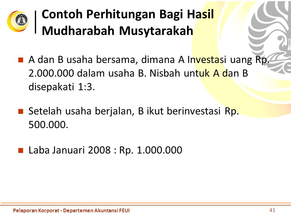 Contoh Perhitungan Bagi Hasil Mudharabah Musytarakah