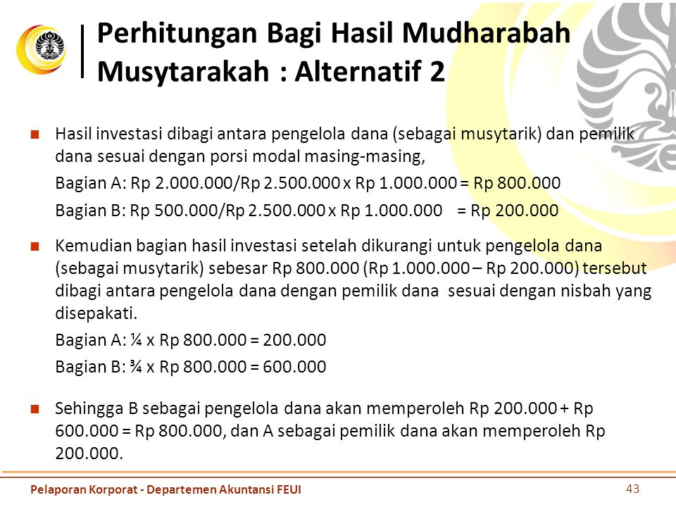 Perhitungan Bagi Hasil Mudharabah Musytarakah : Alternatif 2
