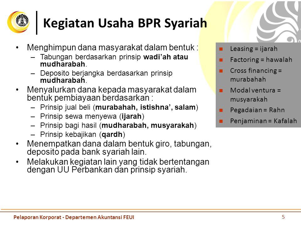 Kegiatan Usaha BPR Syariah