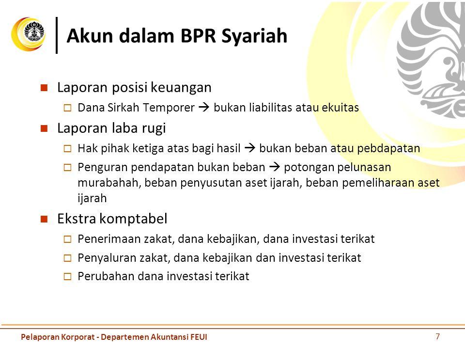 Akun dalam BPR Syariah Laporan posisi keuangan Laporan laba rugi