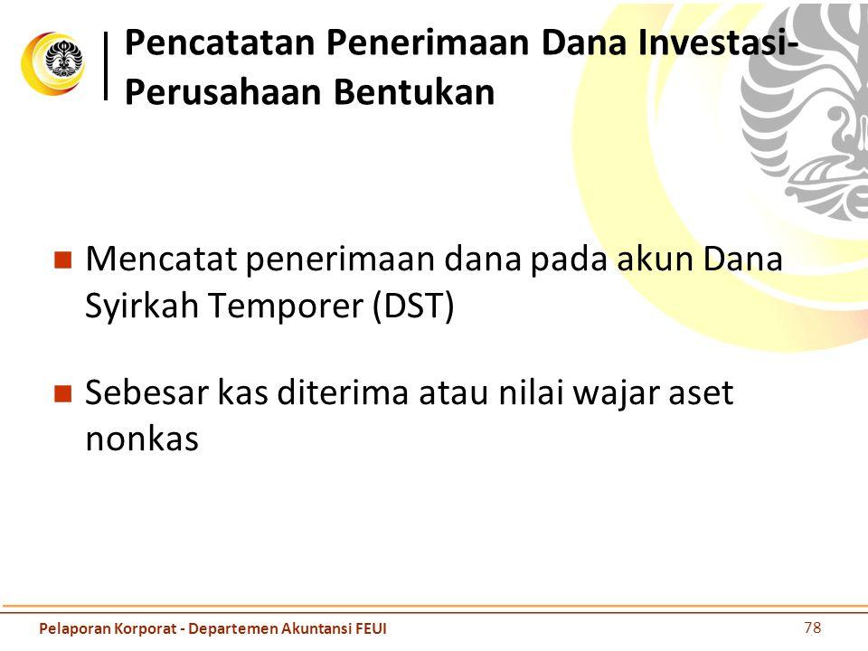 Pencatatan Penerimaan Dana Investasi-Perusahaan Bentukan
