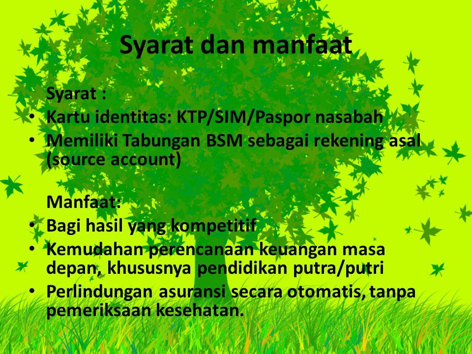 Syarat dan manfaat Syarat : Kartu identitas: KTP/SIM/Paspor nasabah